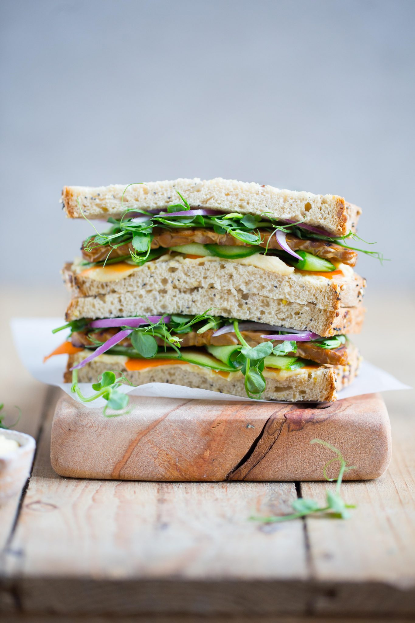 Panfried tempeh, Hummus and Salad Sandwich