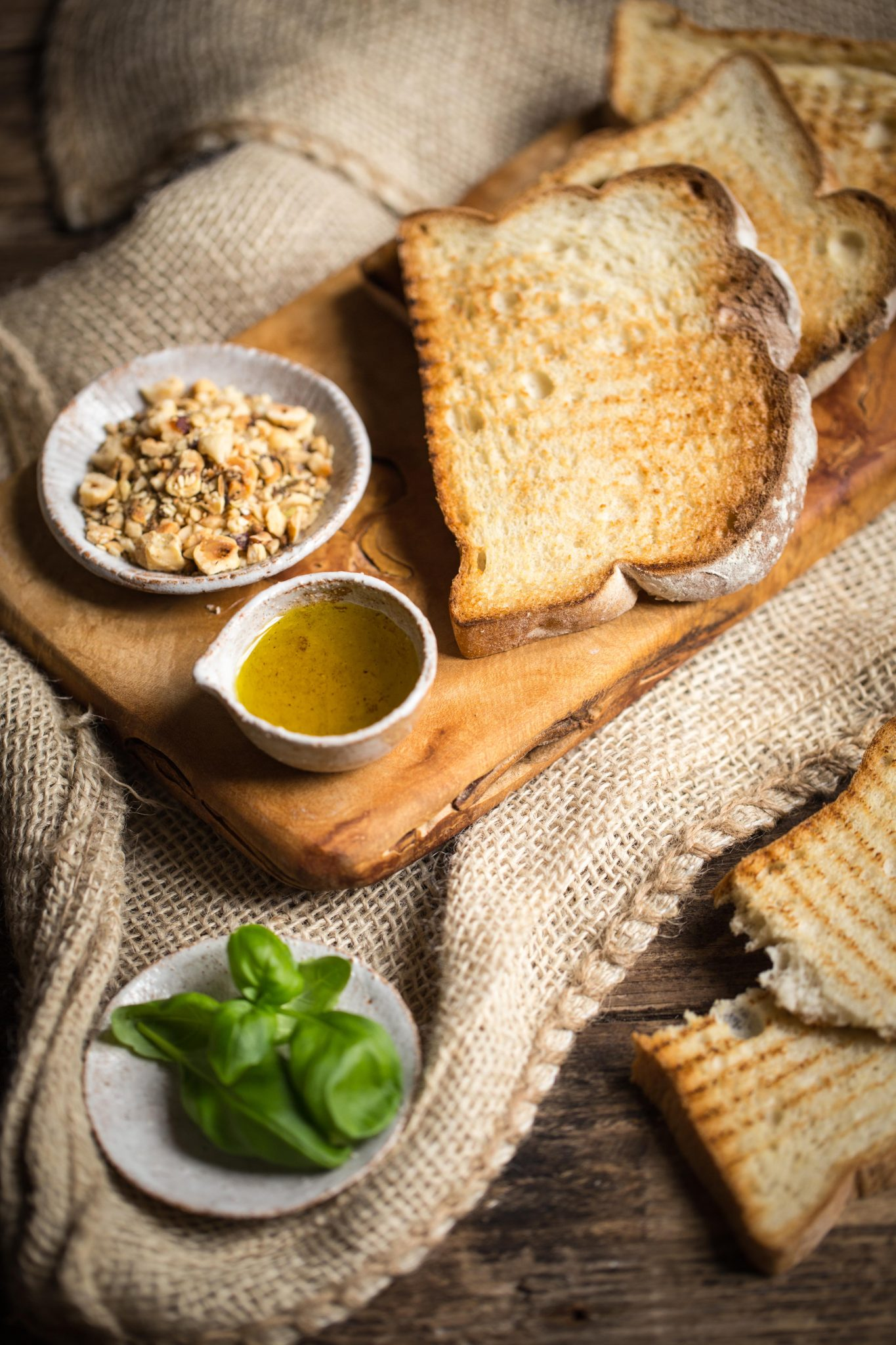 Grilled bread served with olive oil and dukkah