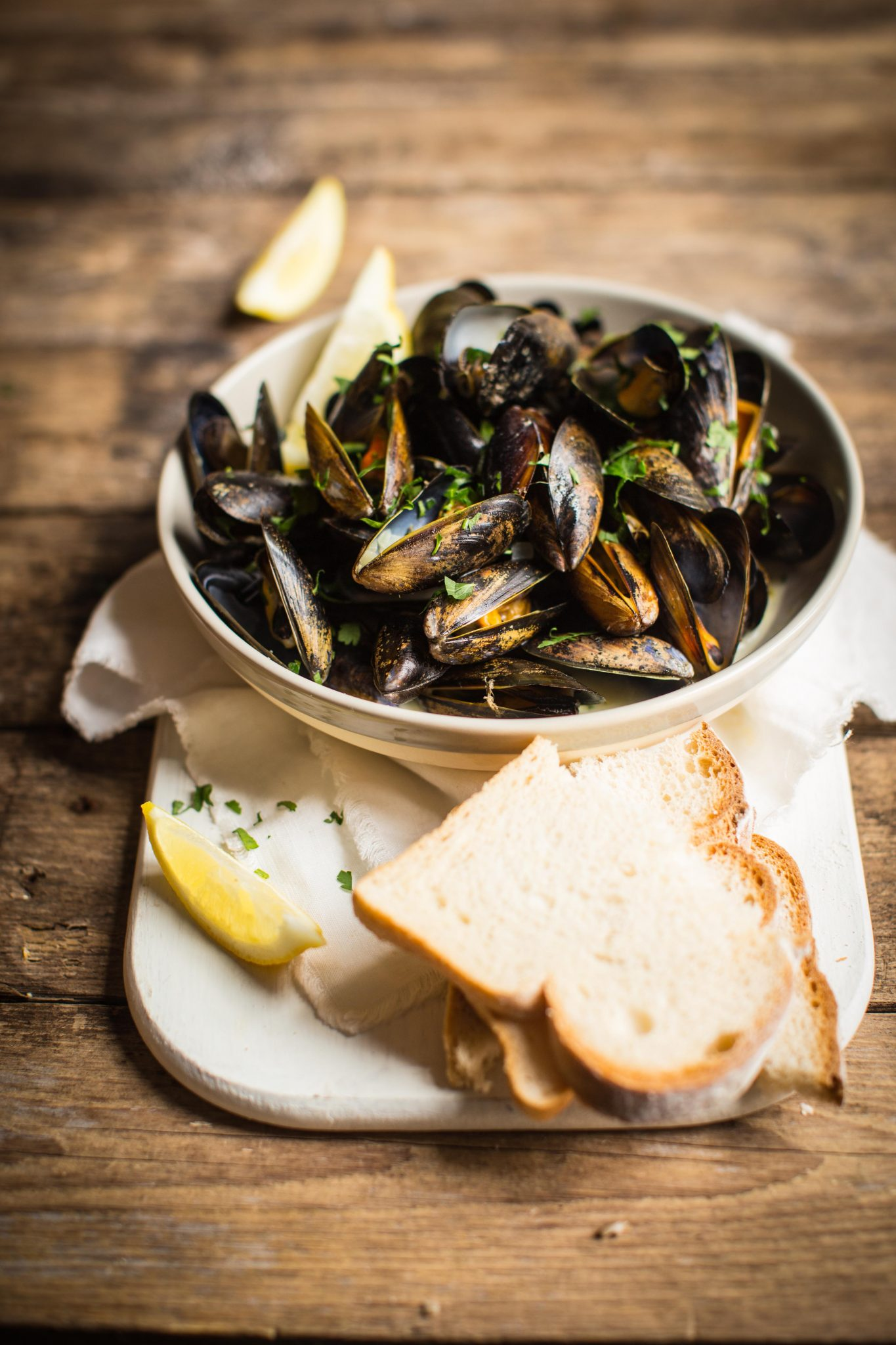 Moules Marniere: mussels steamed with white wine and shallots